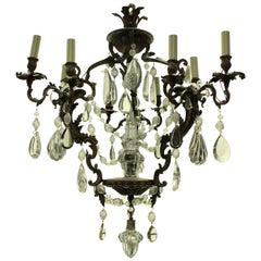 French Rococo Chandelier in Bronze with Cut-Glass