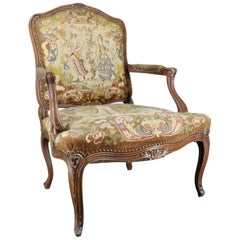 French Rococo Fauteuil with Needlepoint Upholstery