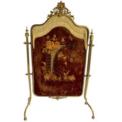 French Rococo Gilt and Velvet Embroidered Fire Screen