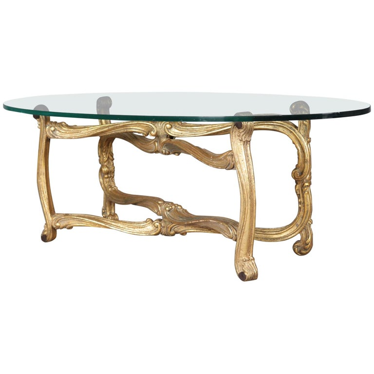 French Rococo Coffee Table: French Rococo Giltwood Scroll Form And Glass Top Coffee