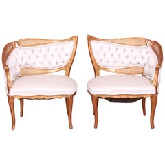 French Rococo Louis XV Giltwood and Cane Upholstered Fireside Chairs, Pair