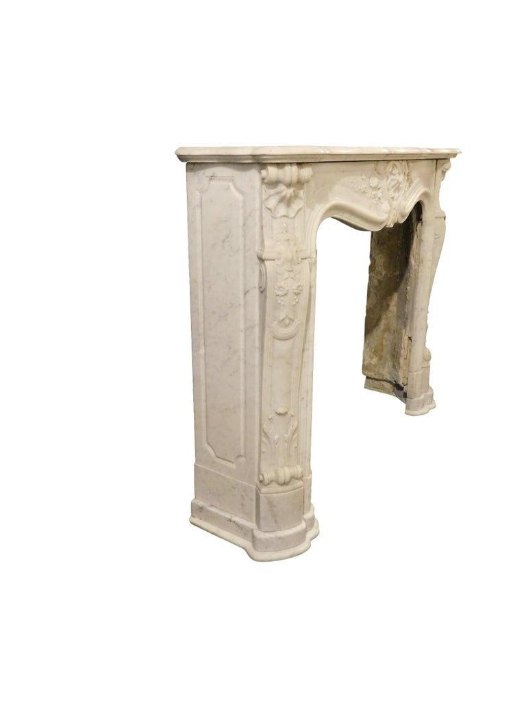 Hand-Carved French Rococo Louis XV Marble Fireplace Mantel For Sale