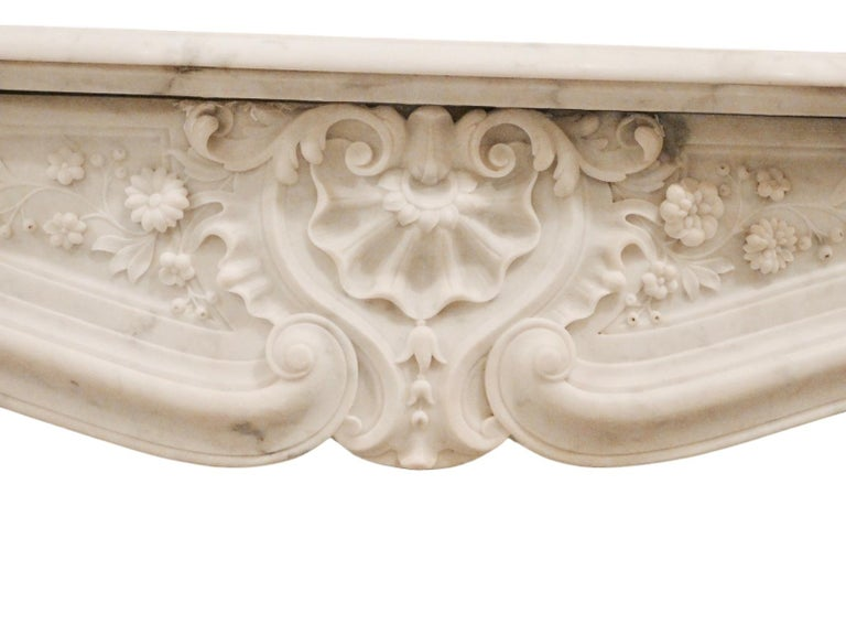 Mid-19th Century French Rococo Louis XV Marble Fireplace Mantel For Sale