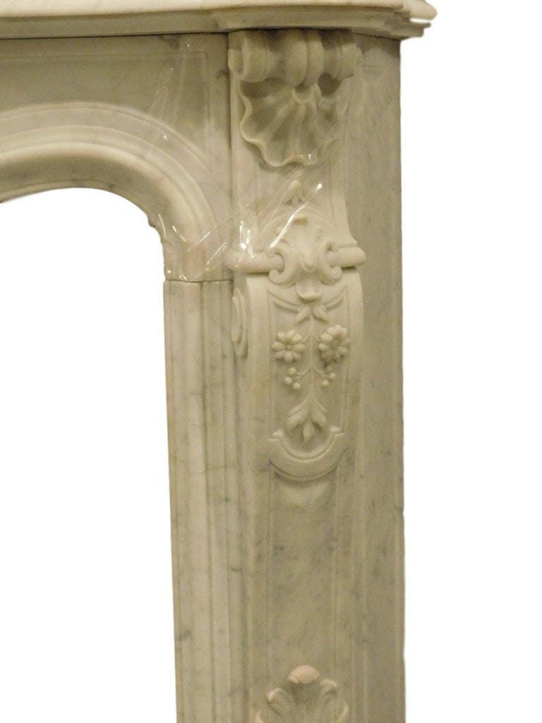 French Rococo Louis XV Marble Fireplace Mantel For Sale 1