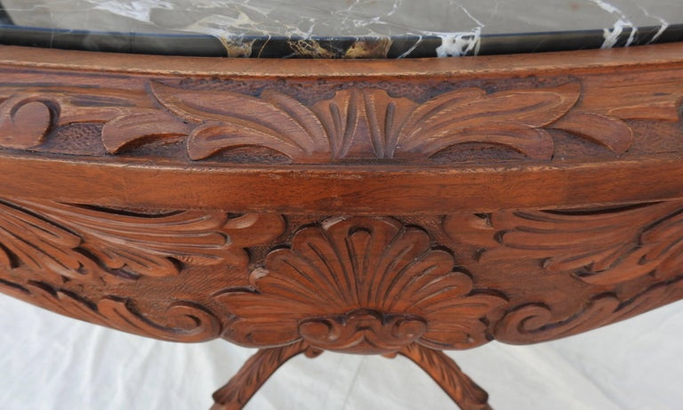 French Rococo Marble-Top Walnut Table For Sale 11