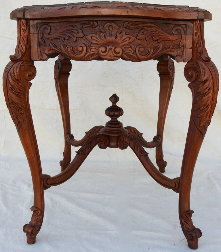 French Rococo Marble-Top Walnut Table For Sale 12
