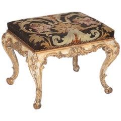 French Rococo Painted and Gilt Stool with Aubusson Upholstery