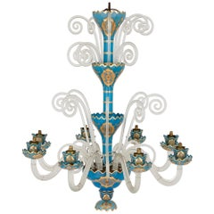 French Rococo Revival Style Gilt Blue Glass Chandelier