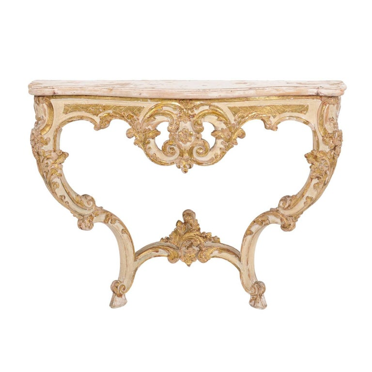 French Rococo Style 19th Century Painted and Parcel-Gilt Wood Console Table
