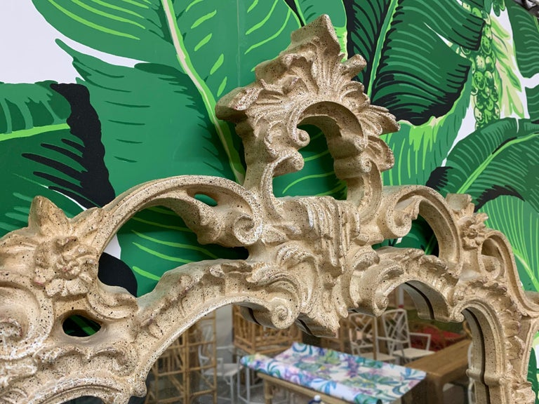 Rococo style wall mirror features ornate sculptural frame molded from composite resin. By Carolina Mirror Company. Very good condition with only very minor imperfections consistent with age.
