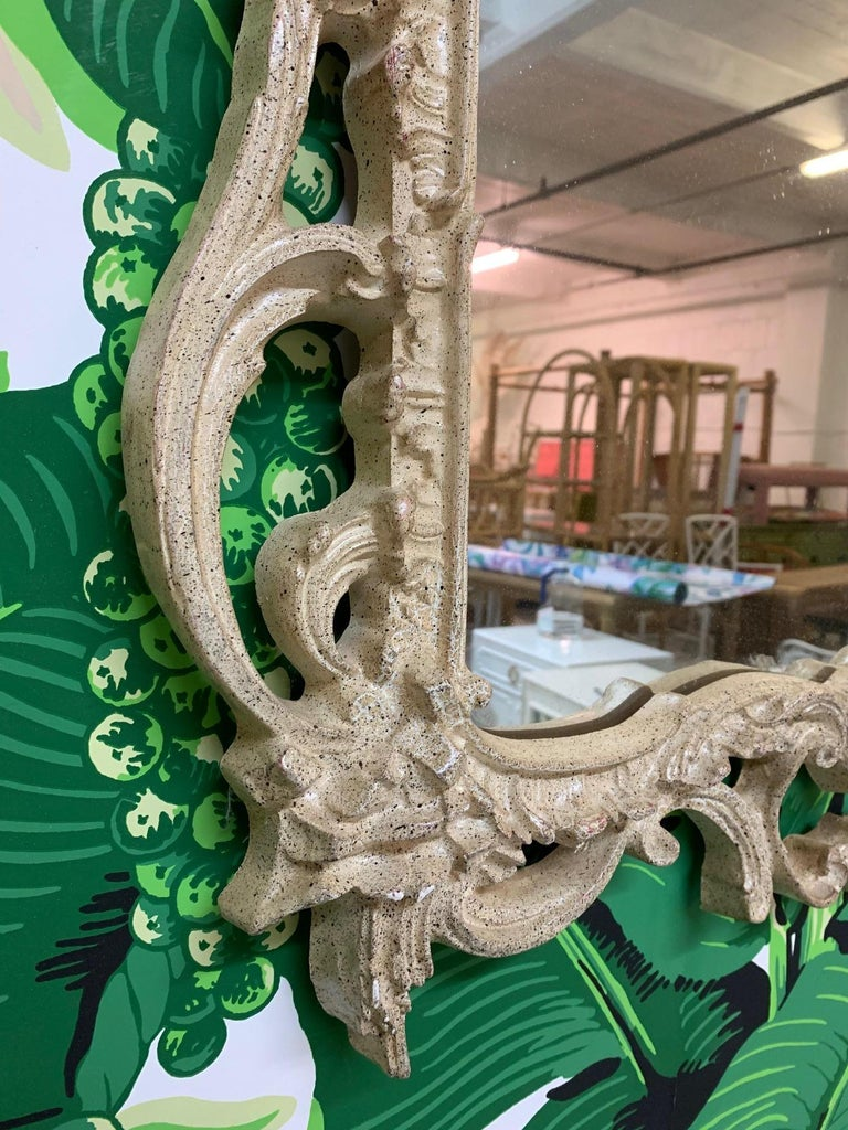 Hollywood Regency French Rococo Style Baroque Wall Mirror For Sale