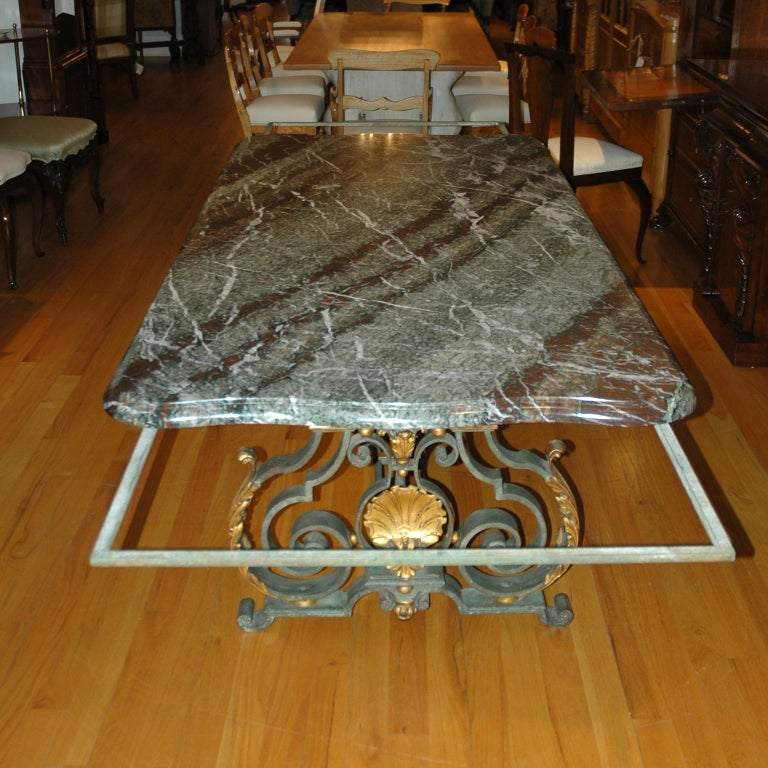 French Rococo-Style Campan Melange Marble-Top Dining Table with Forged Iron Base For Sale 9