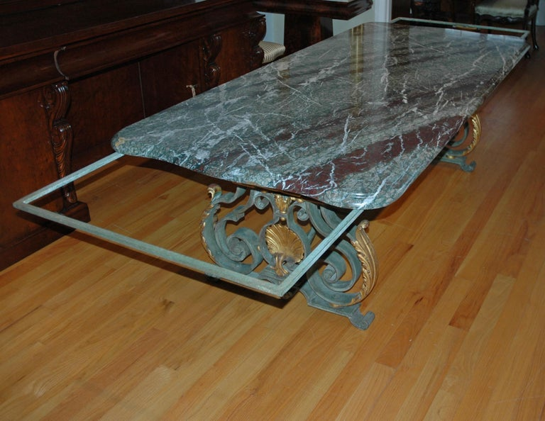 French Rococo-Style Campan Melange Marble-Top Dining Table with Forged Iron Base For Sale 10