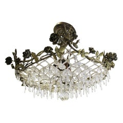 French Rococo Style Floral Pendant & Lattice Chandelier
