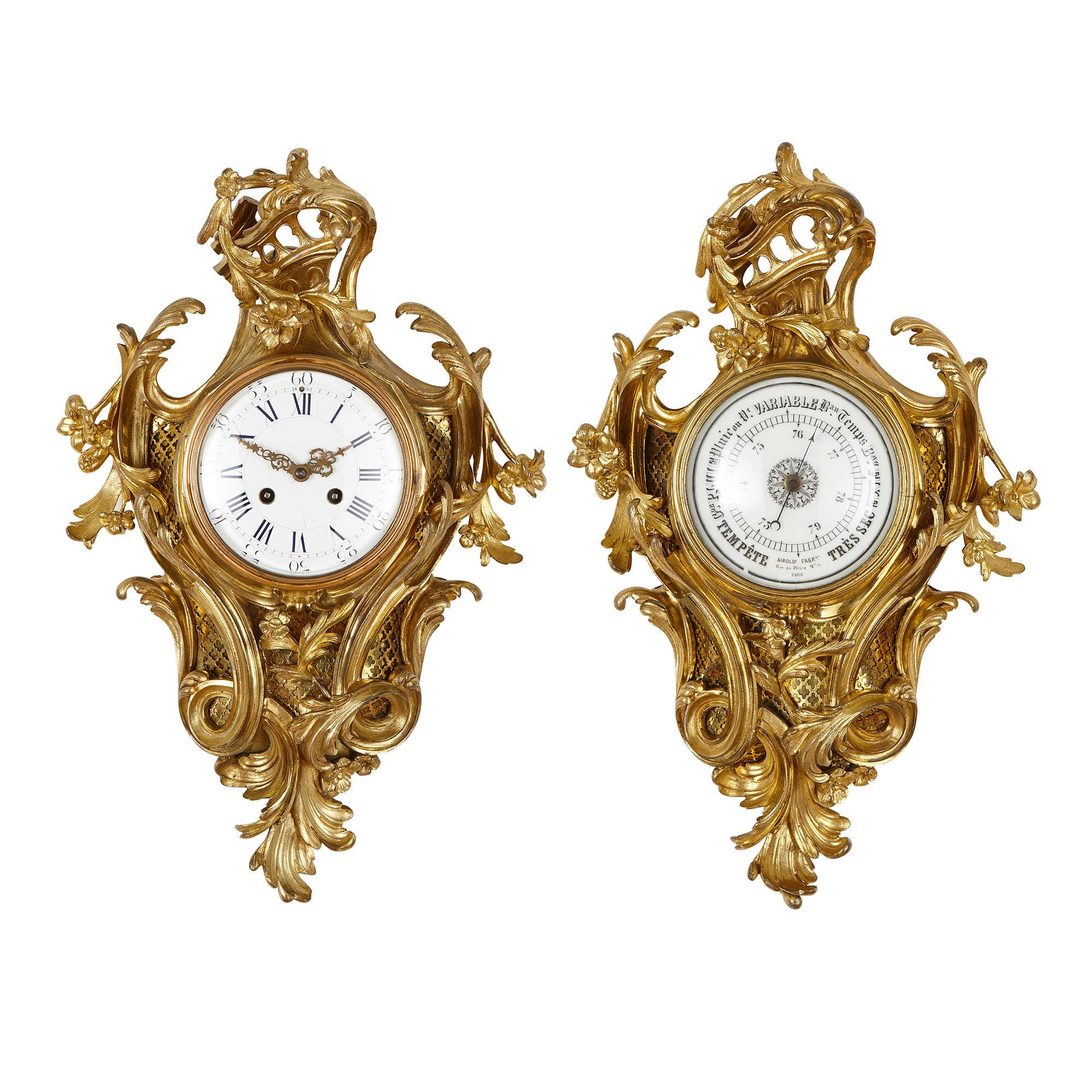 French Rococo Style Gilt Bronze Clock and Barometer by Charpentier