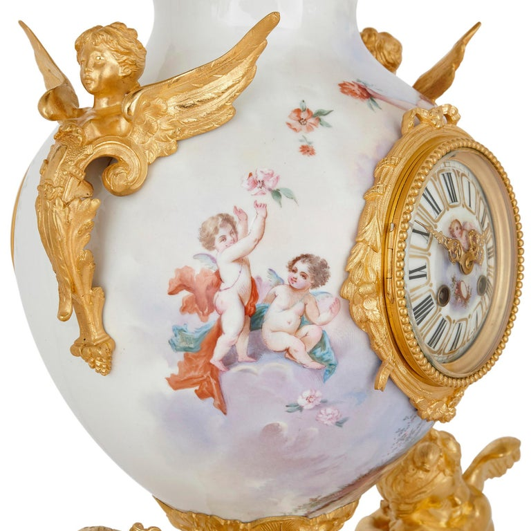 19th Century French Rococo Style Gilt Bronze Mounted Porcelain Clock Set For Sale