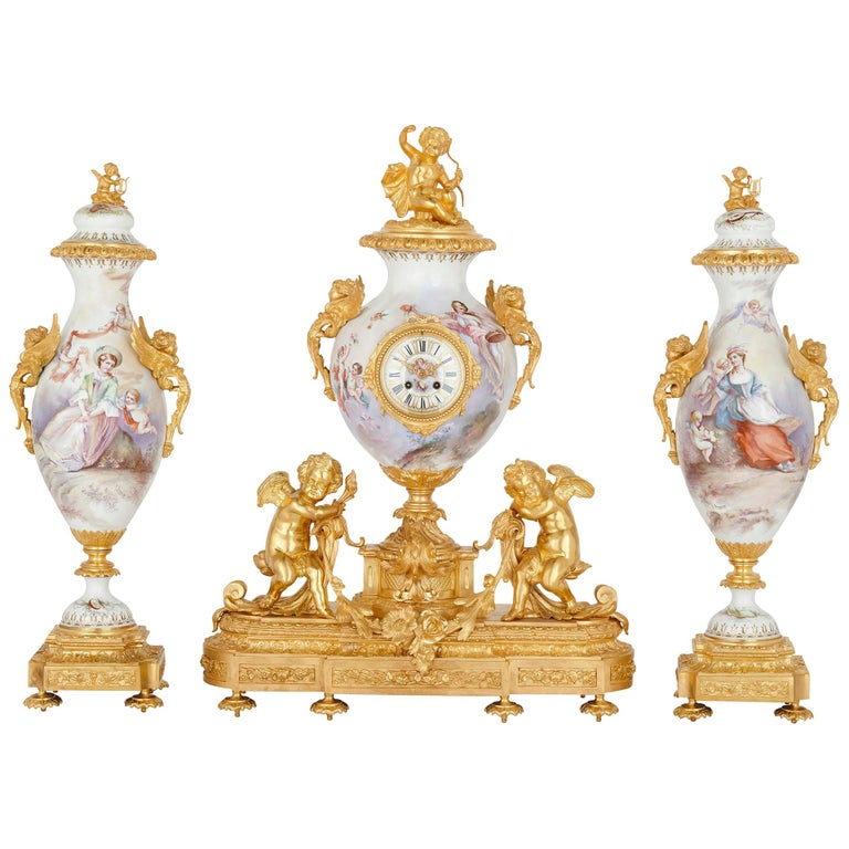 French Rococo Style Gilt Bronze Mounted Porcelain Clock Set For Sale