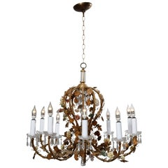 French Rococo Style Gilt Metal with Porcelain Flowers Ten-Light Chandelier C1930
