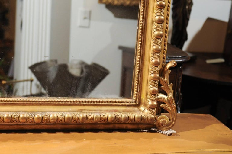 French Rococo Style Giltwood Mirror with Cartouche Carved Crest, 19th Century For Sale 7