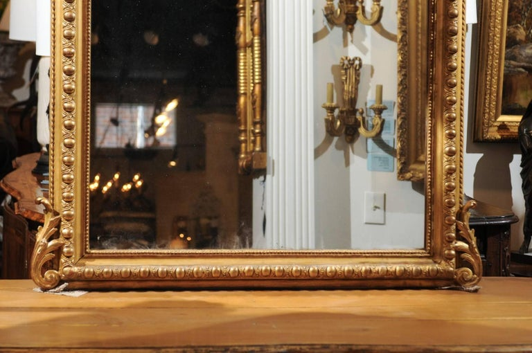 French Rococo Style Giltwood Mirror with Cartouche Carved Crest, 19th Century For Sale 2
