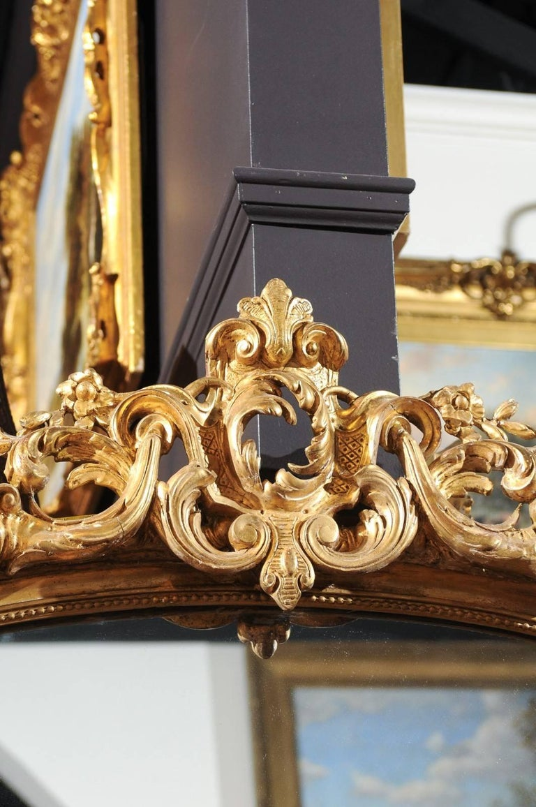 French Rococo Style Giltwood Mirror with Cartouche Carved Crest, 19th Century For Sale 5