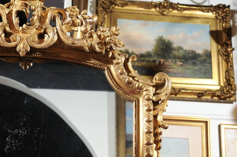 French Rococo Style Giltwood Mirror with Cartouche Carved Crest, 19th Century For Sale 6