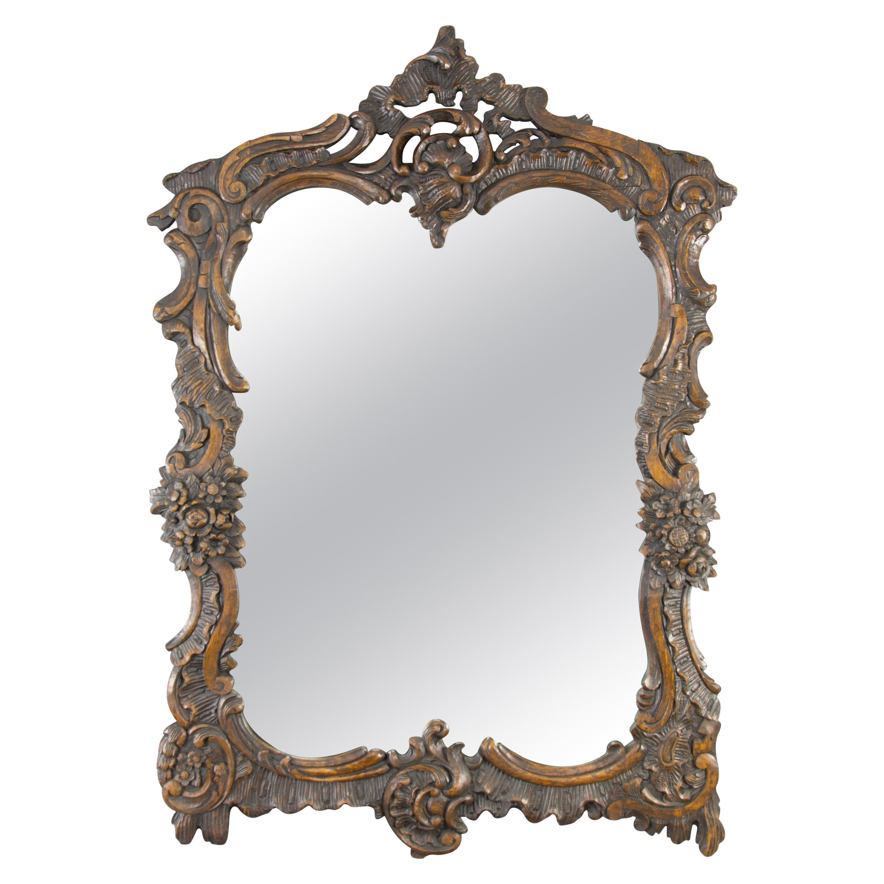 French Rococo Style Ornate Carved Wood Dark Brown Wall Mirror Early 20th Century