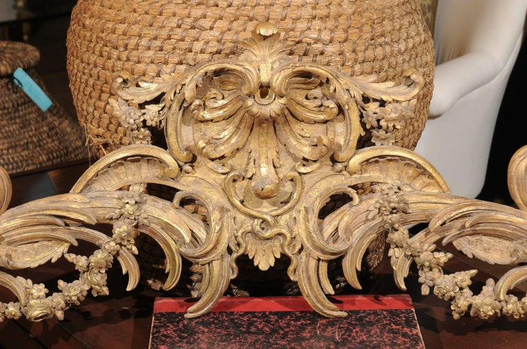 French Rococo Style Parcel-Gilt Carved Architectural Swag from the 19th Century For Sale 1