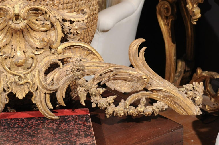 French Rococo Style Parcel-Gilt Carved Architectural Swag from the 19th Century For Sale 2