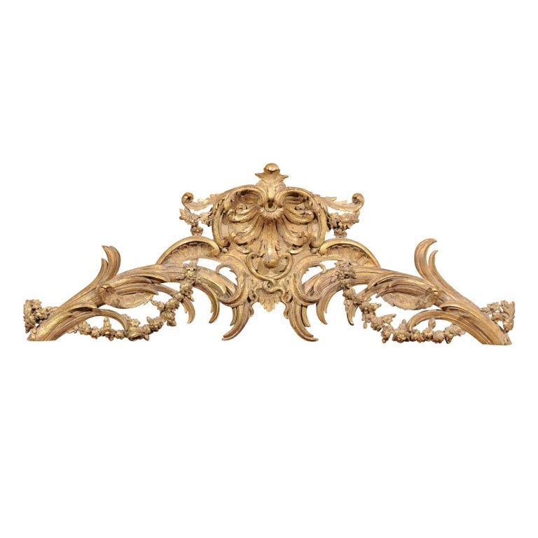French Rococo Style Parcel-Gilt Carved Architectural Swag from the 19th Century For Sale