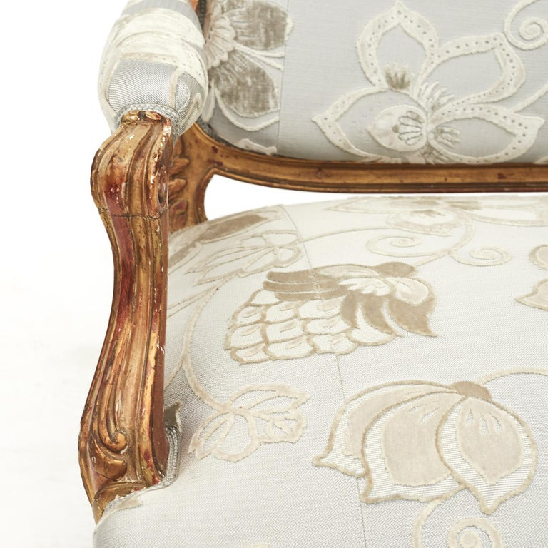 Fabric French Rococo Style Sofa Bench, circa 1850 For Sale
