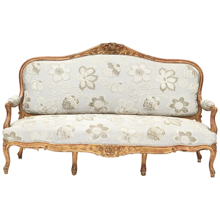 French Rococo Style Sofa Bench, circa 1850 For Sale