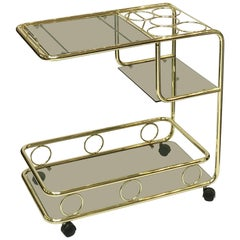 French Rolling Drinks Cart of Brass with Tinted Glass