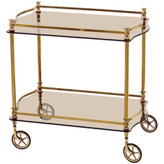 French Rolling Drinks Cart or Trolley of Brass and Smoked Glass