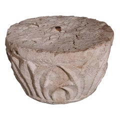French Romanesque Carved Stone Capital, 12th-13th Century