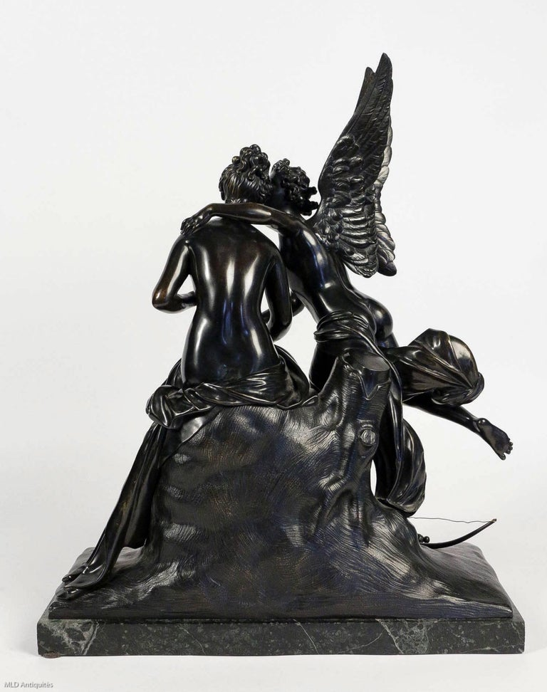 French Romantic Period, Patinated Bronze Sculpture Converted in Table Lamp For Sale 7