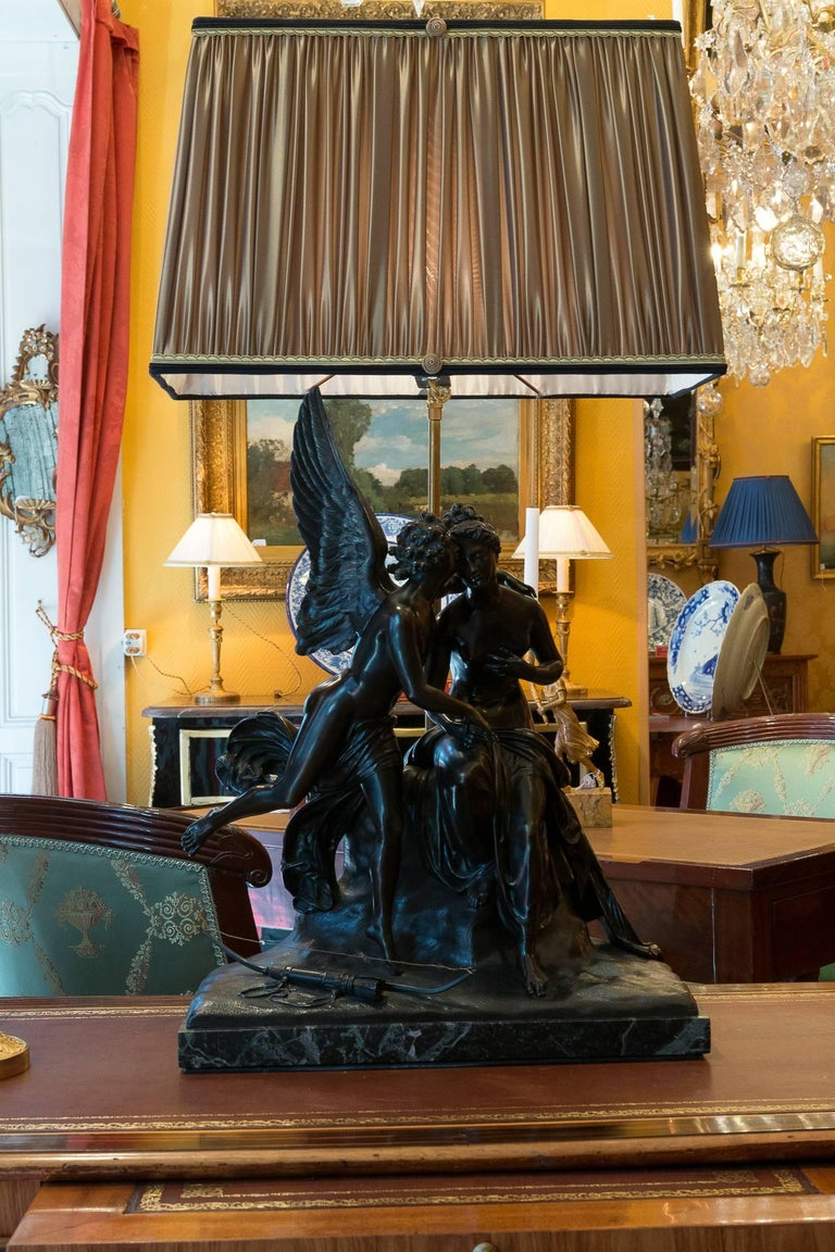French Romantic Period, Patinated Bronze Sculpture Converted in Table Lamp For Sale 9