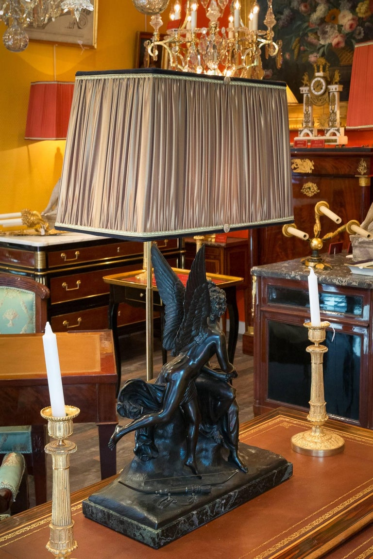 French Romantic Period, Patinated Bronze Sculpture Converted in Table Lamp In Good Condition For Sale In Saint Ouen, FR