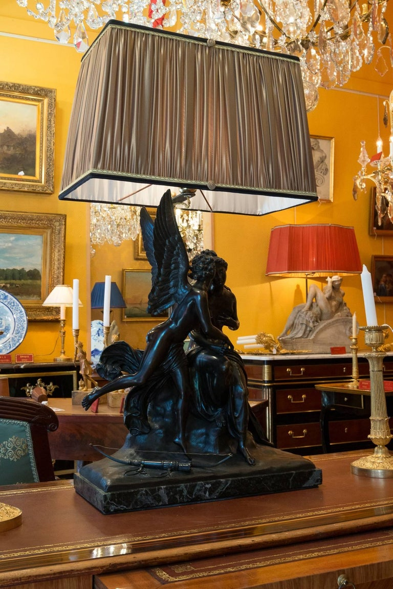 French Romantic Period, Patinated Bronze Sculpture Converted in Table Lamp For Sale 1