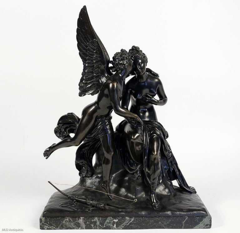 French Romantic Period, Patinated Bronze Sculpture Converted in Table Lamp For Sale 2