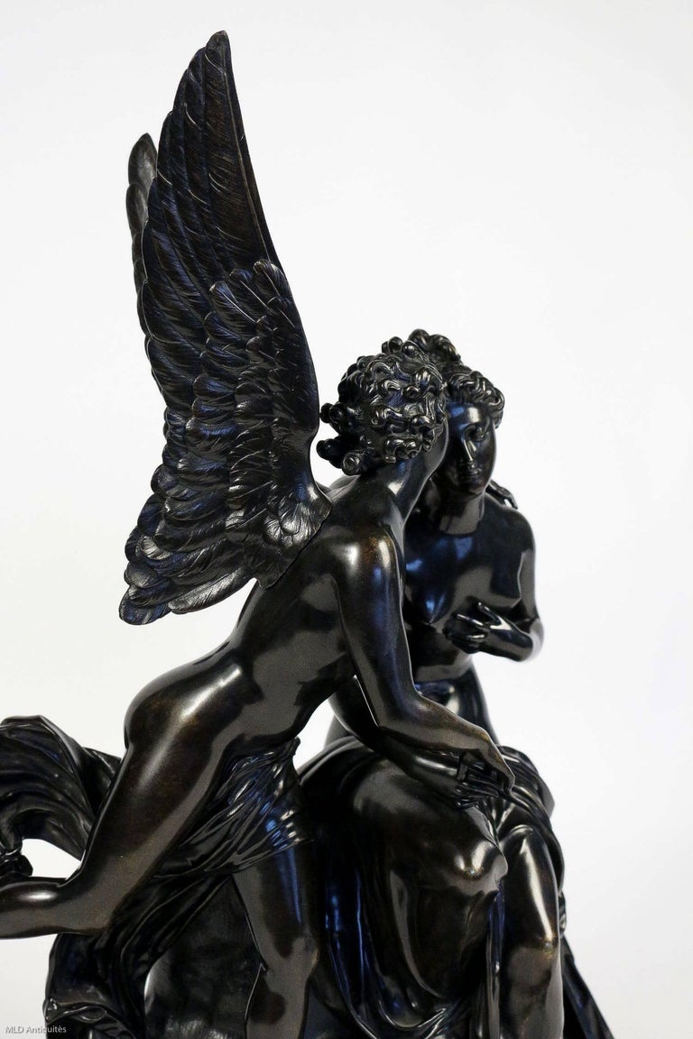 French Romantic Period, Patinated Bronze Sculpture Converted in Table Lamp For Sale 5