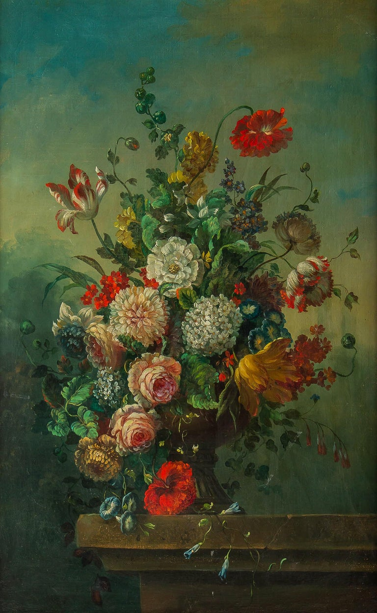 French Romantique School, Oil on Canvas Bouquets of Flowers on Stone-Ledge For Sale 5