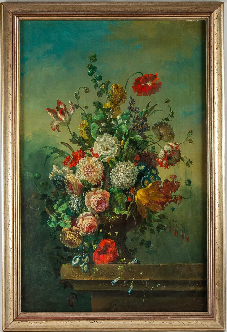 French Romantique school, oil on canvas bouquets of flowers on stone-ledge, circa 1830