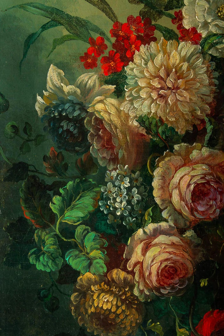 Oiled French Romantique School, Oil on Canvas Bouquets of Flowers on Stone-Ledge For Sale