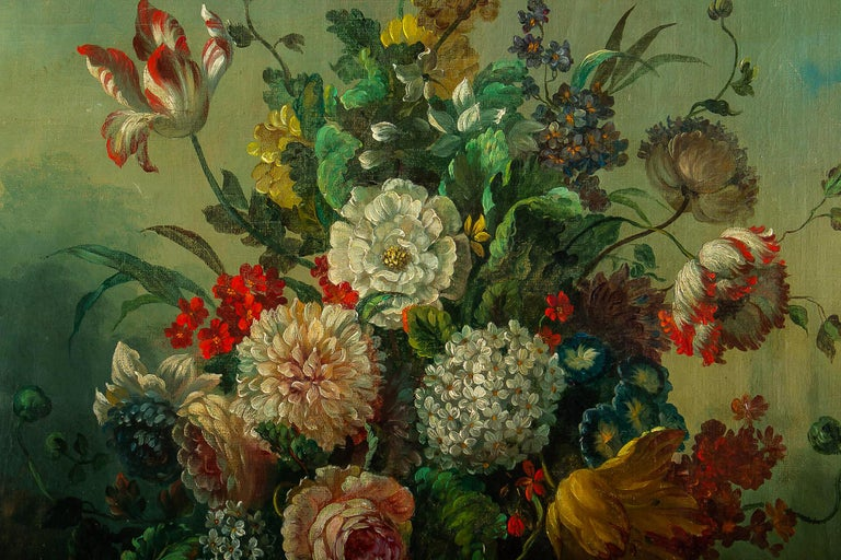 19th Century French Romantique School, Oil on Canvas Bouquets of Flowers on Stone-Ledge For Sale
