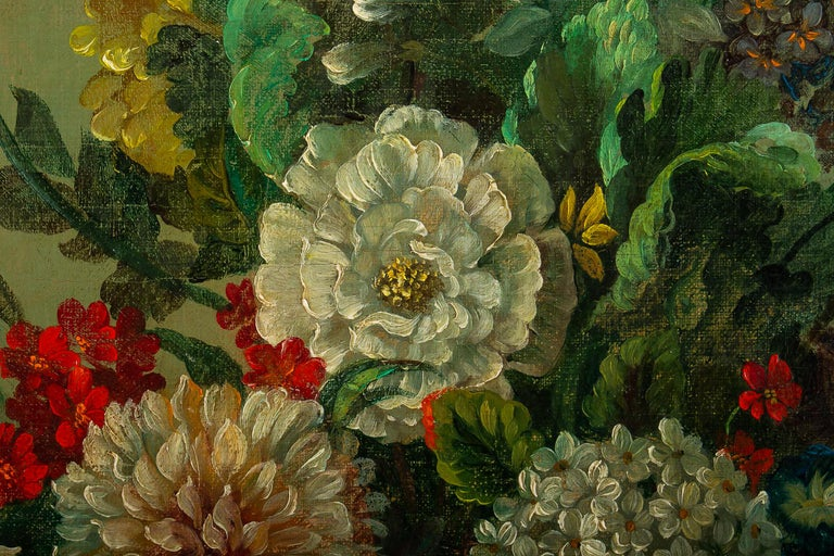 Paint French Romantique School, Oil on Canvas Bouquets of Flowers on Stone-Ledge For Sale