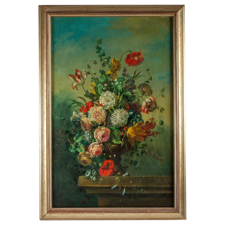 French Romantique School, Oil on Canvas Bouquets of Flowers on Stone-Ledge For Sale