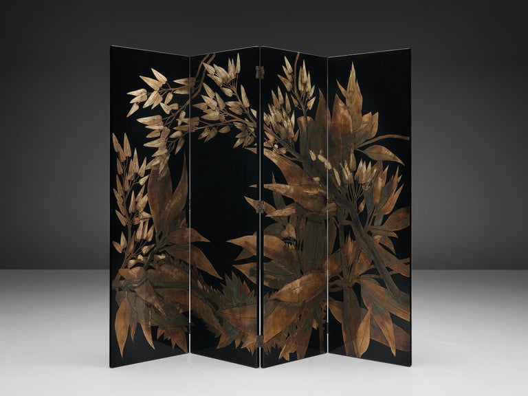 Room divider, 'laque d'argent no. 1060', lacquered wood, etched copper, France, 1970s  This French room divider shows many sources of inspiration: the ever impressing French Art Deco period of the 1920 and 1930s, but also more historic and