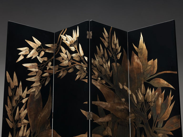 Mid-Century Modern French Room Divider in Laque D'Argent, 1970s For Sale