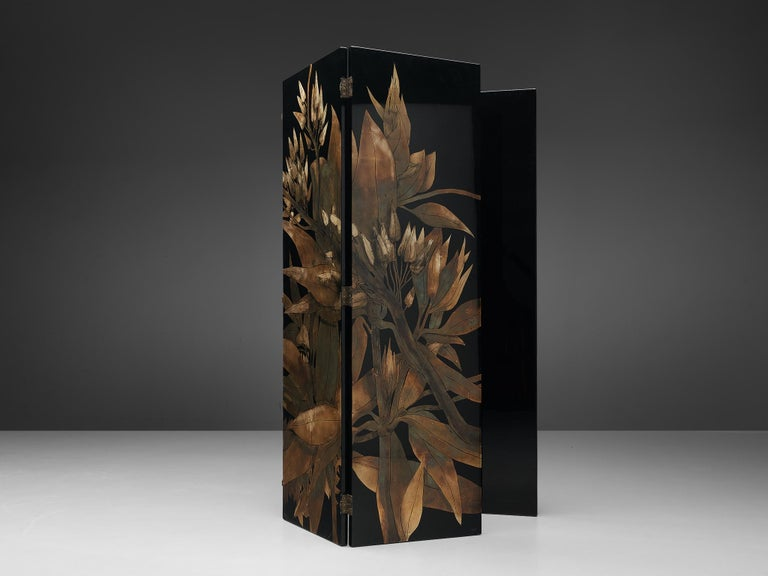 Copper French Room Divider in Laque D'Argent, 1970s For Sale